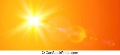 Sunny background, orange sun with lens flare, vector summer illustration