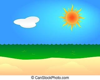 Sunny beach - Illustration of a sunny sandy beach.