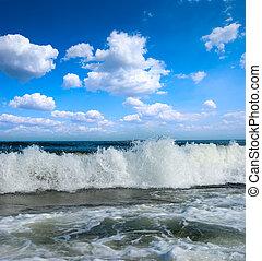 Sunny beach on coast of atlantic ocean