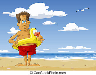 Sunny beach - The man on the beach, vector illustration