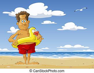 The man on the beach, vector illustration