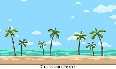 Sunny beach with palms and cloudy skyscape. Animated...