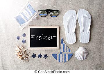 Sunny Blackboard On Sand, Freizeit Means Leisure Time - Flat...