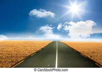 Sunny brown landscape with street