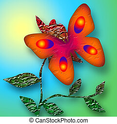 Sunny Butterfly - Bright butterfly on the flower sunny...