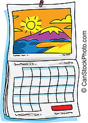 A cartoon calendar with a sunny scene on it.