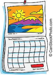 A cartoon calendar with a sunny scene on it.