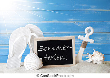 Sunny Card With Sommerferien Means Summer Holidays