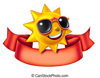 Sunny Character And Banner - Sunny sun three dimensional...
