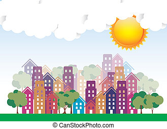 Illustration of city with sunny weather, vector illustration