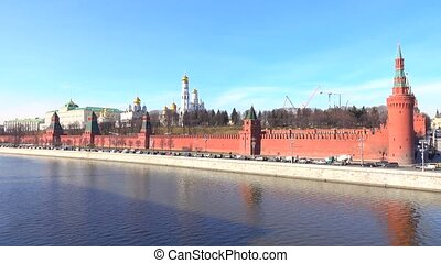 Sunny cloudless day panoramic shot of Moscow Kremlin, Russia. 4K video