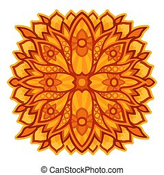 Sunny colorful art with orange floral pattern