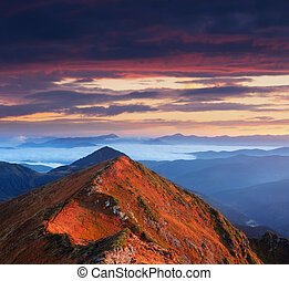 Sunny Dawn in mountains