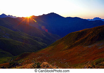 Sunny dawn in the Caucasus mountains