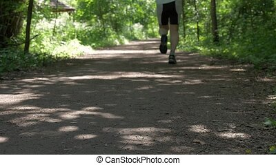 Sunny day, a path for outdoor activities. On it, people run around and do Scandinavian walk.