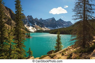 Sunny day at Moraine lake in Banff National Park, Alberta, Canada