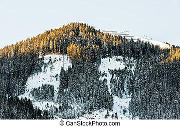 Sunny day at ski resort in Austria