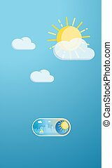 Sunny day cityscape illustration On Off toggle switch button