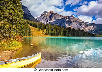 The concept of eco-tourism - Sunny day in autumn Yoho...