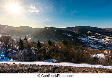 sunny day in Carpathian mountains. lovely winter landscape...