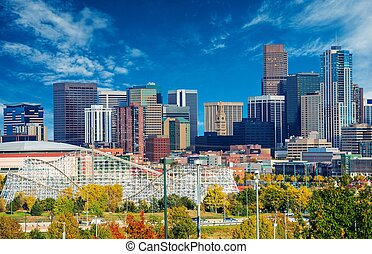 Sunny Day in Denver Colorado, United States. Downtown Denver...