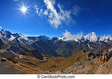Sunny day in early autumn Austrian Alps. Excursion to the...
