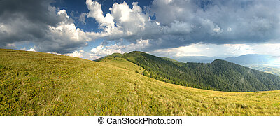 Sunny day in mountain landscape