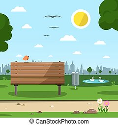 Sunny Day in Park with Town Silhouette. Empty Vector Background with Bird on Bench.