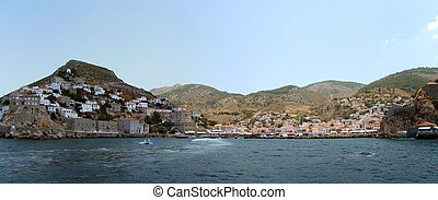 Sunny day in the harbour of Hydra