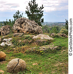 Sunny day in the landscape with rocks