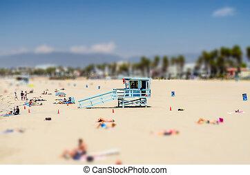 Sunny day in Venice Beach, California. Tilt-shift effect...