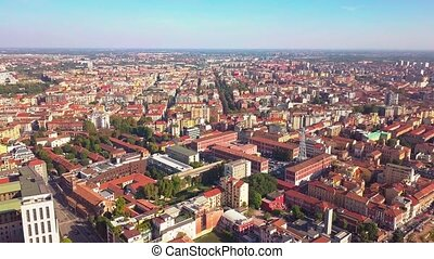 sunny day milan cityscape aerial panorama 4k italy