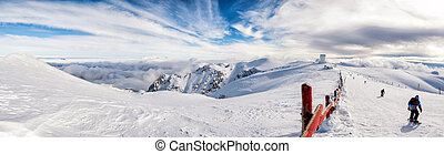 sunny day on the top of a mountain Helmos