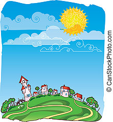 Sunny day poster - Vector card with sunny summer landscape