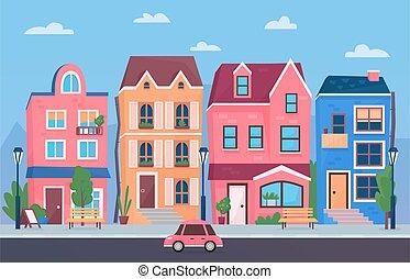 Sunny day small town street. Cartoon funny city buildings vector illustration.