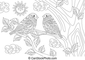 sunny day with couple of cute birds on branch of tree for your c