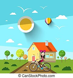 Sunny Day with House and Girl on Bicycle. Vector Landscape.