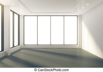Sunny empty room with windows in floor and white walls