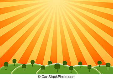 sunny farm - bright and cheery image of a farm on a sunny...