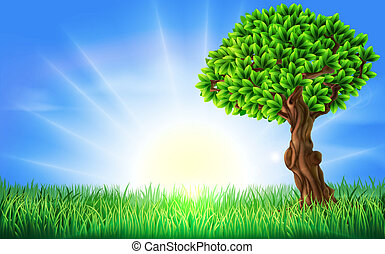 A background illustration of a field of bright green grass on s a spring or summers day with a sun rise or sun set and beautiful green tree.