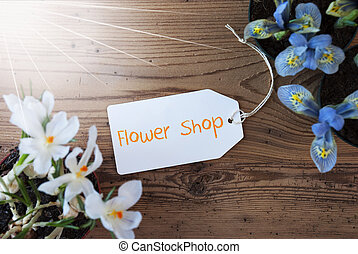 Sunny Flowers, Label, Text Flower Shop
