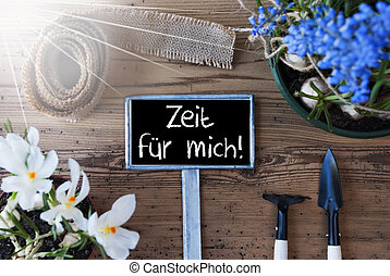 Sunny Flowers, Sign, Zeit Fuer Mich Means Time For Me - Sign...