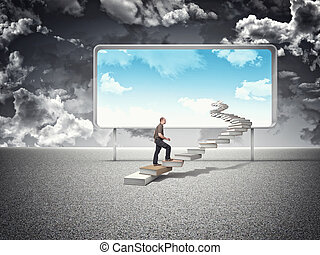 sunny future - man on books steps and blue sky