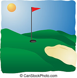 Sunny golf course with flag and sands, illustration