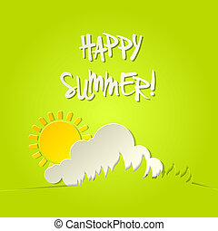 Sunny happy summer vector bacground card