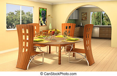 Sunny home - Modern dining room with a kitchen on background...