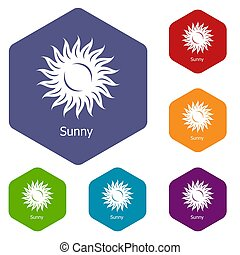 Sunny icons hexahedron - Sunny icons colorful hexahedron set...