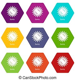 Sunny icons set 9 - Sunny icons 9 set coloful isolated on ...