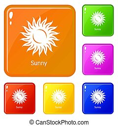 Sunny icons set color - Sunny icons set collection 6 color ...