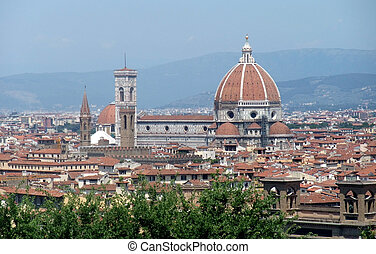 Florence - sunny illuminated panoramic view of Florence in...